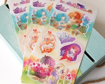 Sailor Moon Pets 4x9 Vinyl Sticker Sheet