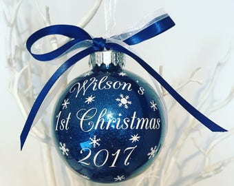 Baby Boy's Personalised First Christmas Bauble