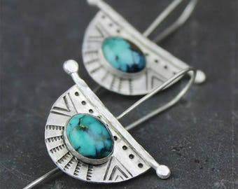 Tribal Turquoise and Silver Earrings, Stamped Dangle Earring with Bezel Set Gemstones, Crescent Half Moon Earrings