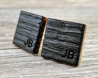Personalized Whiskey Barrel Oak Wood Cufflinks - Perfect gift for the Groom, Groomsmen, and Father of the Bride!
