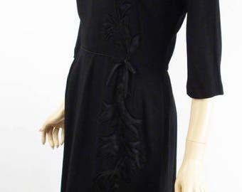 Vintage 1950s Dress Black Crepe with Satin Applique Topaz Original B42 W28