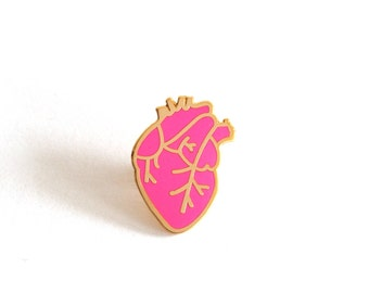 Anatomical Heart Pin Badge, Enamel Pin, Gift For Her, Neon Pink Pin Badge, Romantic Gift, Lapel Pin, RockCakes