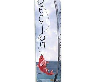 Saltwater Fishing Custom Canvas Growth Chart Red Snapper Boys Nursery Wall Art