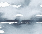 Wind on the Ice, Original Abstract Waterscape Painting, Watercolour, Indigo Blue