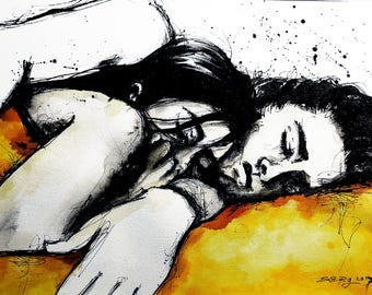 12x16in A3 ink painting - cuddling couple - black and white wall art - ver7
