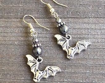 Silver Bat Earrings Hematite Gunmetal Grey Beads Vampire Bat Jewelry Halloween Bats Spooky Bat Gothic Costume Attire Vampire Bat Motif