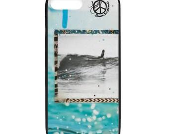 NEW iPhone 8/8+ Case, SHE SLIDES, Best Seller, Female Surfer, Beach, Surf, Surf Art, Tropical, Ocean, Art, black case color, Apple iPhone