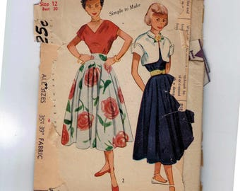 1950s Vintage Sewing Pattern Simplicity3285 Teen Age Skirt Blouse and Bolero Jacket Size 12 Bust 30 50s INCOMPLETE