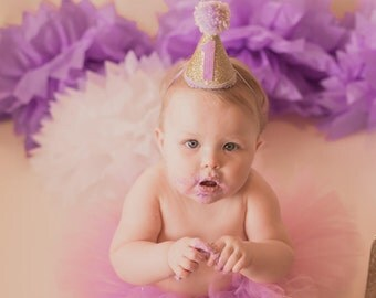 1st Birthday Hat Girl, First Birthday Hat Girl, Cake Smash Hat Girl, Mini Glittery Party Hat, First Birthday Outfit Girl Hat, Handmade Hat
