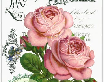 Vintage Lazell's Perfumes digital download pink roses and Blue Birds single image BUY 3 get one FREE ecs Printable