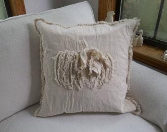 Neutral Pumpkin Pillow Drop Cloth Pillow Sham Halloween Decoration Thanksgiving Decor Raggedy Pumpkin Pillows