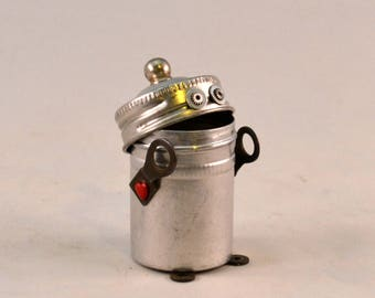 MR. STRONG, a Bitty Bot, Assemblage Art Recycled Robot Sculpture, Vintage Film Canister Turned Robot