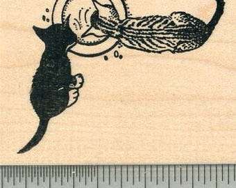 Cat Rubber Stamp, Two Kittens with Saucer J32602 Wood Mounted