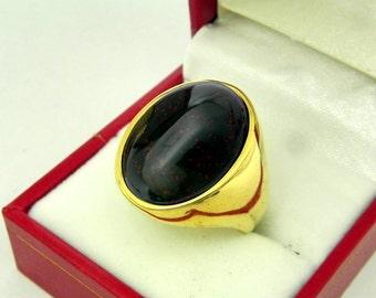 AAAA Bloodstone 20x16mm 22K yellow gold Signet ring 25-28 grams.  0605