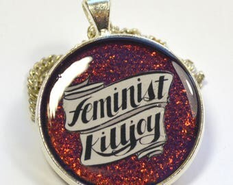 Feminist Killjoy Multichrome Purple Resin Pendant