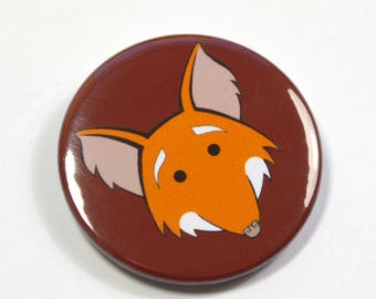 Cartoon Cute Smiling Fox Badge Pinback Button