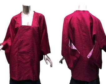 Michiyuki Kimono Coat Pink-Red Tonal Geometric Pattern Jacquard Short Length Traditional Tokyu Japan