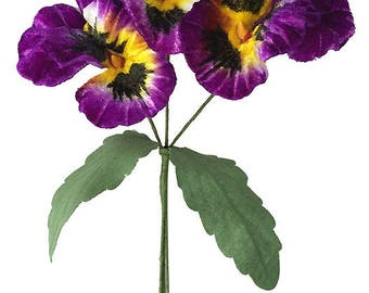 Spray of Large Purple and Yellow Velvet Pansies ~ Czech Republic  NFC 047-PY