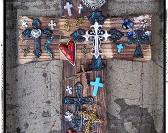 Religious Valentine Gift, Religious Cross Decor, Large Wood Cross, Distressed Wall Cross, Wooden Crosses, Turquoise Cross, Cross Red Heart