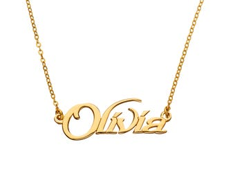 24K Gold Plated -  Custom Made Any Name Necklace, Perfect Personalized gift idea