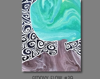 Groovy Abstract Acrylic Flow Painting #39 Ready to Hang 8x10