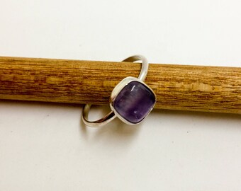Sterling Silver Amethyst Square Stacking Ring
