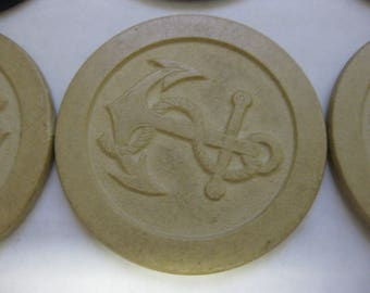 Vintage Embossed Clay Anchor Nautical Poker Chip Ivory Lot of 18 Altered Art Supply Collectible