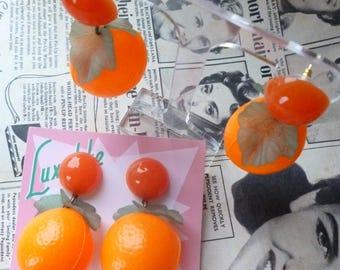 Juicy Jaffa Florida Oranges! Carmen Miranda fruit salad earrings - vintage 1940's 50's bakelite fakelite inspired by Luxulite