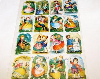 Old-fashioned Children Paper Scraps - Vintage Mamelok Press Scrap Sheet with Sweet Children Outdoors