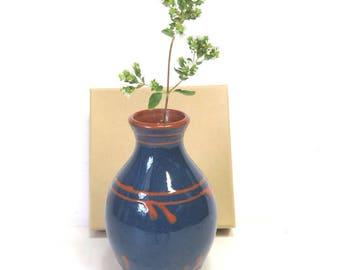 Nittsjo Sweden Redware and Deep Blue Vase/ Vintage Scandinavian Studio Pottery / Petite Weed Pot