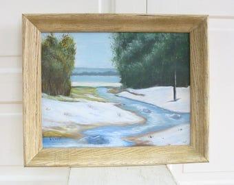 Vintage Landscape Painting, Winter Painting, Oil Painting, Tree Painting, Vintage Oil Painting, Vintage Oil Painting, Snow Painting, Stream