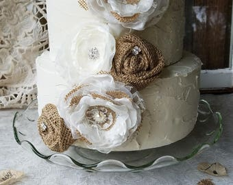 Wedding Cake Topper Ideas~Burlap And Lace Cake Decorations~Rustic Bridal Shower Cake topper~ Rustic burlap Baby Shower Cake Topper