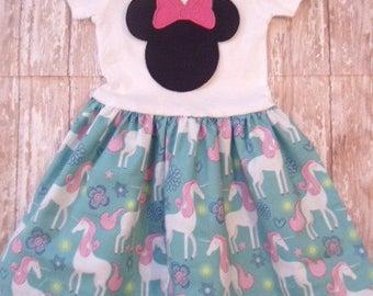 DISNEY DRESS, minnie mouse dress, unicorn, disney vacation, birthday party dress, girls minnie mouse birthday dress, 1st Birthday party