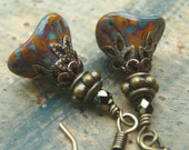 Unusual Fall Flower Earrings with Czech Glass Flowers and Antique Brass