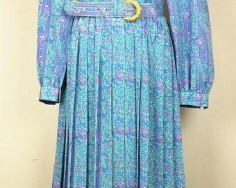 Vintage Lavender Green Pink Yellow Floral Stripe Print Shirt Dress Belt Misses 14 XL Schrader