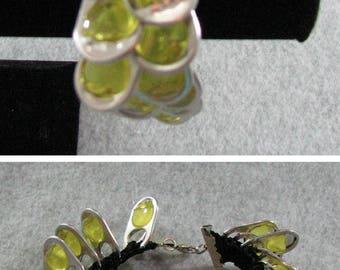 Pop Tab Bracelet - Black Ribbon Bracelet with Yellow Pop Tabs - Crochet Bracelet - Pop Tab Jewelry - Beaded Bracelet - Ribbon Bracelet