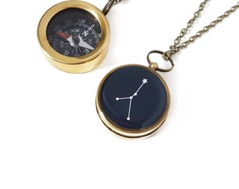 Cancer Constellation Necklace, Zodiac Jewelry, Working Compass, Brass Chain, June Birthday, July Birthday, Holiday Gift, Astrology