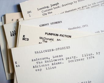 50 Halloween themed library card catalog cards - from an elementary school library