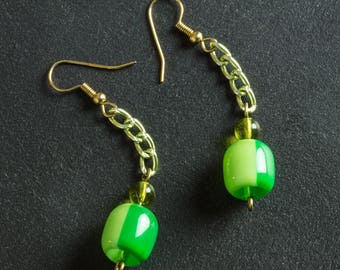 50% OFF SALE Green Vintage Candy Drop Lucite Earrings, Plastic & Glass Beads, Green Aluminum Chain, Gold Plated Ear Hooks, Retro Jewelry