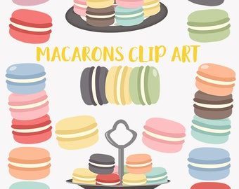 Macaron cookie clipart, baking macarons, kitchen baker, pastry chef french cookie, cookie plate, baked dessert digital png clip art (LC34)