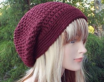 Oxblood Wine Slouchy Beanie, Womens Crochet Hat, Oversized Slouch Beanie, Chunky Hat, Baggy Beanie, Slouchy Hat, Winter Hat, Slouch Hat
