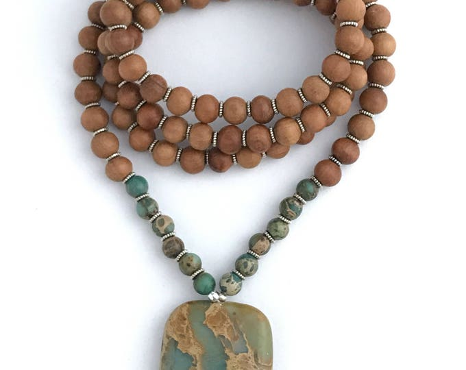 aqua terra jasper and sandalwood mala necklace