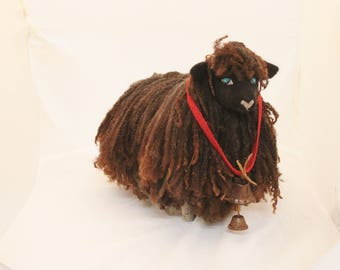 Sheep, Needle Felted Long Locks Sheep, Felted Sheep, Sculpted Felted Sheep, #2618