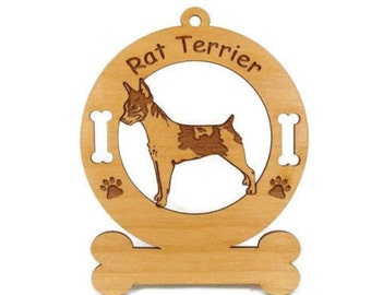 3804 Rat Terrier Standing Personalized Wood Ornament
