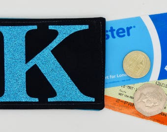 Personalised Oyster card holder, bus pass holder, travel card holder, wallet.Monogrammed wallet.Turquoise glitter initial.Credit Card holder