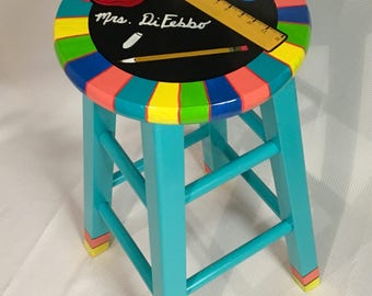 "Teacher Chair // 24"" Whimsical Painted Furniture, Painted Bar Stool // Teacher Theme Stool // Custom painted stool"