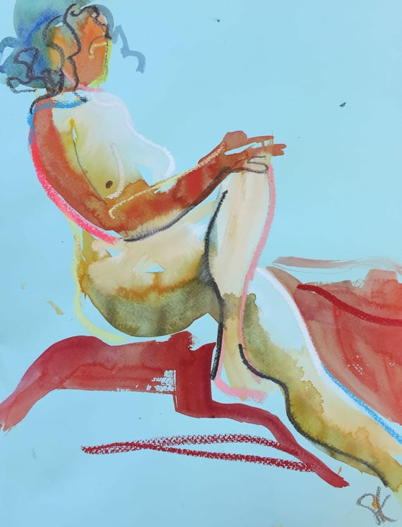 Nude painting- Original watercolor painting of Nude #1304 by Gretchen Kelly