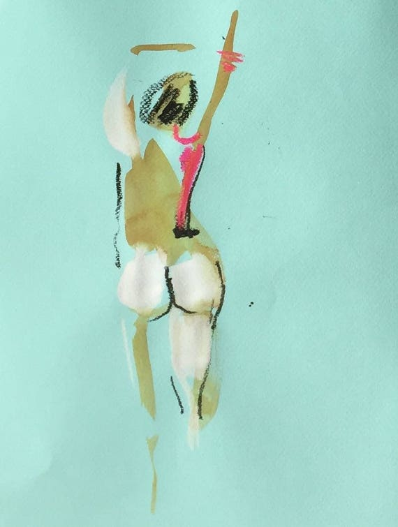 Nude painting of One minute pose 109.3 Original painting by Gretchen Kelly