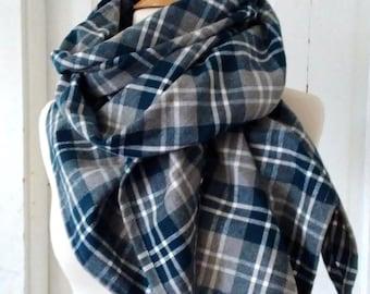 Tartan Plaid Flannel Triangle Blanket Scarf