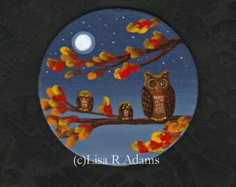 Owl Painting on Wood Magnet Fall Leaves Original Art Creationarts